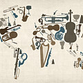 Musical Instruments Map of the World Map Print by Michael Tompsett