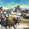Native American Indians killing American Bison Print by Ron Embleton