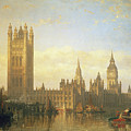 New Palace of Westminster from the River Thames Poster by David Roberts