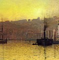 Nightfall in Scarborough Harbour Print by John Atkinson Grimshaw