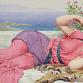 Noon Day Rest Poster by John William Godward