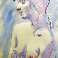 Nude Portrait Drawing Sketch of Young Nude Woman Feeling Sensual Sexy and Lonely Watercolor Acrylic Poster by M Zimmerman