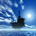 Oil Rig, Artwork Print by Victor Habbick Visions