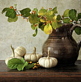 Old pitcher with gourds Print by Sandra Cunningham