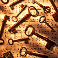 Old skeleton keys on sheet music Poster by Garry Gay