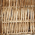 Old Wall Made From Bamboo Slats Print by Yali Shi