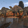 Ouranosaurus Drink At A Watering Hole Print by Walter Myers