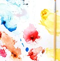Paint Splatters And Paint Brush Poster by Chris Knorr