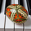 Painted Easter egg on piano keys Poster by Garry Gay