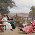 Painting on the Terrace Poster by Jules Frederic Ballavoine