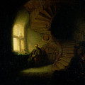 Philosopher in Meditation Poster by Rembrandt