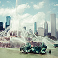 Picture of Buckingham Fountain with Chicago Skyline Print by Paul Velgos