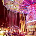 Pink Carnival Festival Ferris Wheel Night Ride Print by Kathy Fornal