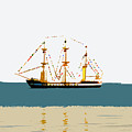 Pirate ship on the horizon Print by David Lee Thompson