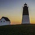 Point Judith Light at Sunset Print by Thomas Schoeller