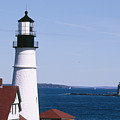 Portland Harbor Lighthouses Poster by George Oze