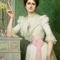 Portrait of a lady holding a fan Print by Jules-Charles Aviat