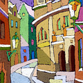 Prague Old Street Karlova Winter Print by Yuriy  Shevchuk