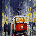 Prague Old Tram 06 Print by Yuriy  Shevchuk