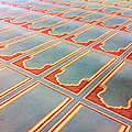 Prayer Mats Printed On Mosque Carpet Poster by Jill Tindall