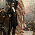 President Abraham Lincoln - American Flag Print by International  Images