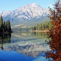 Pyramid Mountain Reflection 3 Print by Larry Ricker