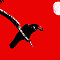 Quoth The Raven Nevermore . Red Poster by Wingsdomain Art and Photography