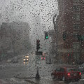 Rainy Days in Boston Poster by Julie Lueders