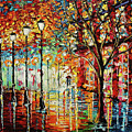Rainy Night Oil Painting - Confetti Rain Poster by Beata Sasik