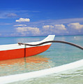 Red And White Canoe Poster by Dana Edmunds - Printscapes