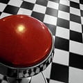 Red Cushion Stool Above Chequered Floor Print by Peter Young