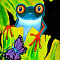 Red Eyed Tree Frog and Purple Butterfly Poster by Nick Gustafson