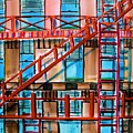 Red Fire Escape Poster by John  Williams