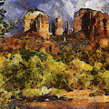 Red Rock Crossing Print by Elaine Frink