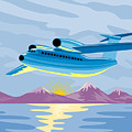 Retro Airliner flying  Poster by Aloysius Patrimonio