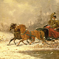 Returning Home in Winter Poster by Charles Ferdinand De La Roche
