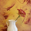 Rose In A Pitcher Print by Marsha Heiken