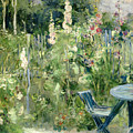 Roses Tremieres Print by Berthe Morisot