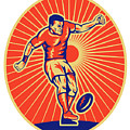 rugby player kicking ball woodcut Poster by Aloysius Patrimonio