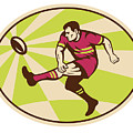 Rugby player kicking the ball retro Poster by Aloysius Patrimonio