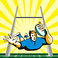 Rugby Player Scoring Try Retro Poster by Aloysius Patrimonio