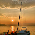 Sailboat and Sunrise Print by Steven Ainsworth