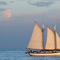 Sailing ship with moon Print by Abhi Ganju