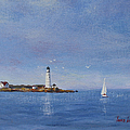 Sailing to Boston Light Print by Laura Lee Zanghetti