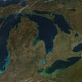 Satellite View Of The Great Lakes, Usa Print by Stocktrek Images
