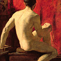 Seated Male Model Print by William Etty