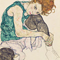 Seated Woman with Bent Knee Print by Egon Schiele