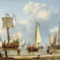 Ships in Calm Water with Figures by the Shore Print by Abraham Storck