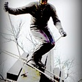 Ski on the edge Poster by Michelle Frizzell-Thompson