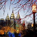 SLC Temple Lights lamp Print by La Rae  Roberts